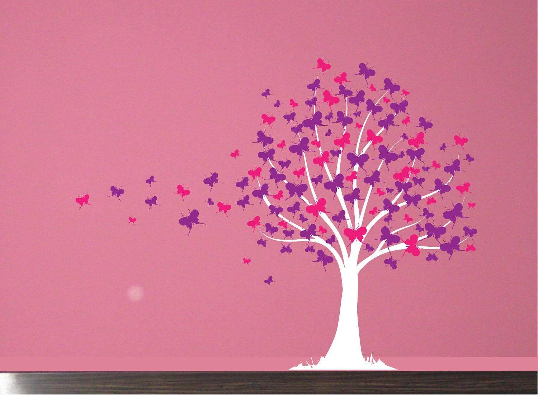 Wall Decal Butterfly Tree Girls Vinyl Wall Art Decal Sticker