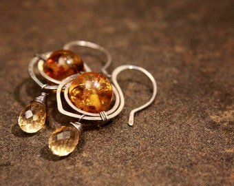 Amber & Citrine Earrings wrapped in Sterling Silver
