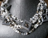Grey and white necklace and earrings set - squares and chips - 6 strands, white, charcoal, silver, gun metal, grey squares