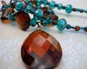 Rusting teal necklace - rust or coca cola pendant, brown, teal, blue green crystals, rust freshwater pearls, sparkly