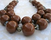 Mad men necklace - chocolate brown, retro, double strand, big resin beads and smoky crystals