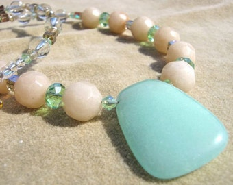 Minty rocks necklace, mint green jade pendant, cream or off-white semi-precious stones, pale green, peridot or lime crystals, glass, trendy