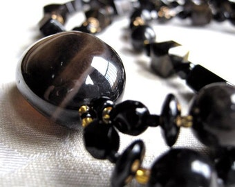 Dark loop necklace - black, brown and gold undertones (can be worn 2 ways - long or short)