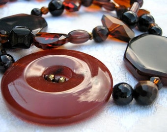 Earthy Chic necklace - brown, black, rust, semi-precious stone, crystal, mid-length