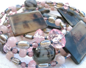 Soft pink, hard stones necklace - grey, pink, agate, glass, long