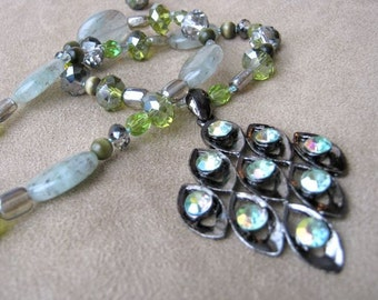 Green dream pendant necklace & earrings set - moss, peridot, grey, charcoal, aged silver metal, oval polished aventurine