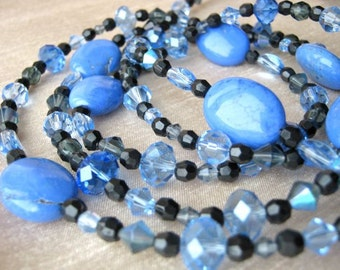 Blue turquoise necklace & earrings set - black, pale blue, powder blue, smoky blue, crystal, glass, turquoise, very long