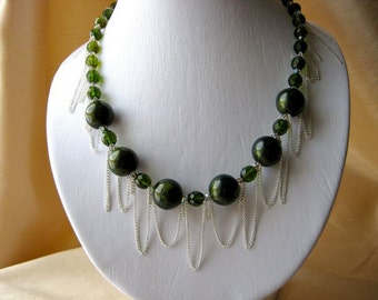 Green & Chain Necklace and Earrings set - silver coloured chain, forest green, shimmering silver crystal, acrylic
