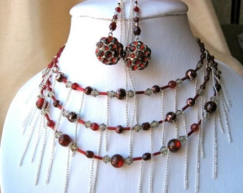 Red Disco Ball Earrings & Necklace Set - chains, scarlet red, silver, grey, crystal, adjustable