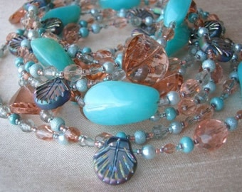 Pastel Necklace & Earrings set - aqua, seafoam green or blue, peach or coral pink, shells