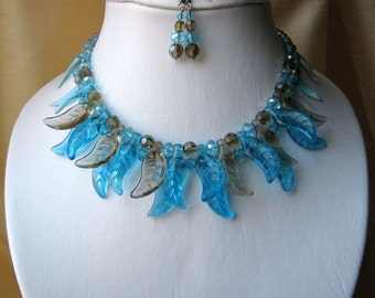 Blue Azur & Grey Bib Necklace and Earrings set - turquoise blue, sky blue, adjustable