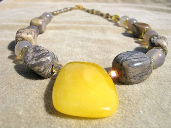 Yellow Stone Necklace Citrus Jade Pendant Semi Precious
