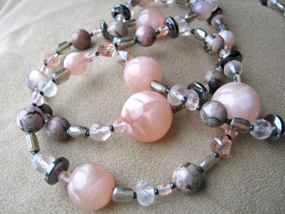 Pink and grey long necklace & earrings set - soft pink, rhodonite, hematite, shell