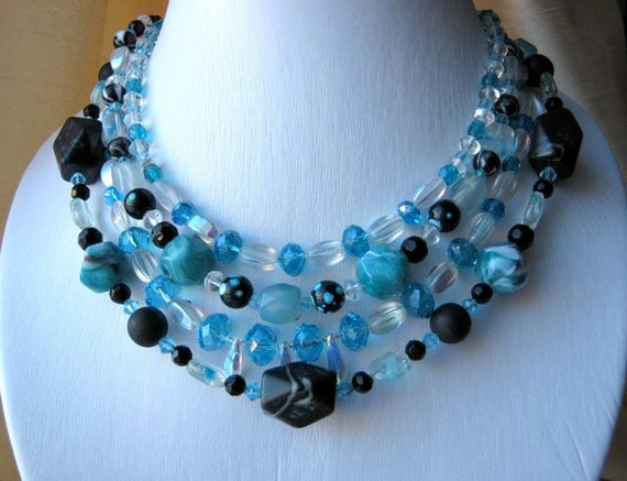 RESERVED FOR TINA: (with bracelet) Fresh blue necklace - teal, sky blue, black, charcoal, simple, sparkly, chunky, four strands