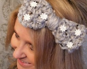 Grey Bow Knit Headband with Daisy Lace