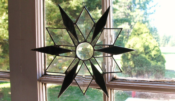 Beautiful Snowflake Star Stained Glass Window Hanging