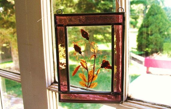 Glass Suncatcher Pressed Flower & Stained
