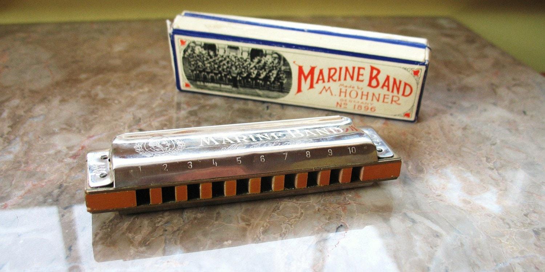awesome vtg hohner marine band harmonica no 1896 key c. Black Bedroom Furniture Sets. Home Design Ideas