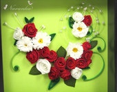 Elegant Red Roses and Daisies Framed Wall Art