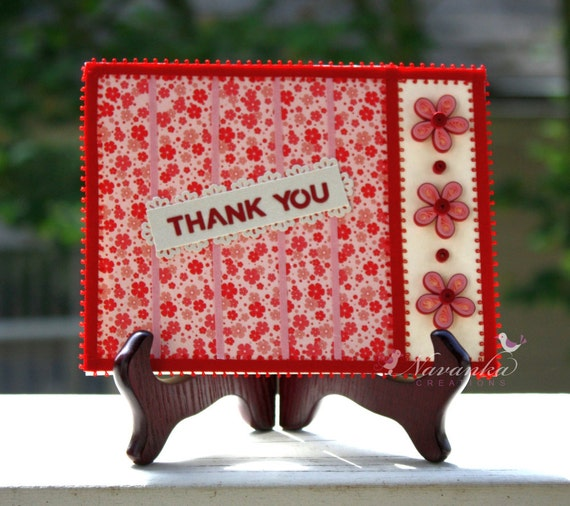 Beautiful Flower Thank You: Beautiful Thank You Card With Paper Quilling Flowers