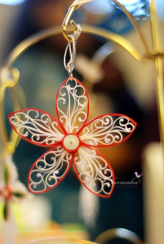 Red and White Elegant Paper Quilled Royal Flower Ornament in a box