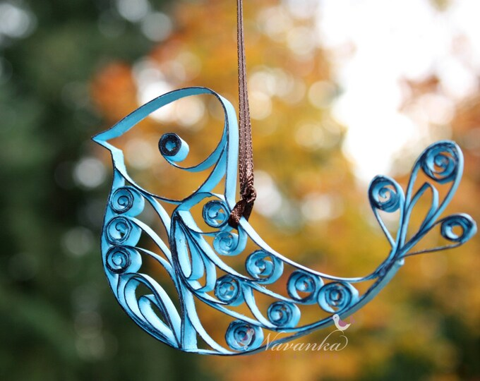 Paper Quilled Blue Bird Ornament,  Christmas Ornament, Paper Bird in Gift Box