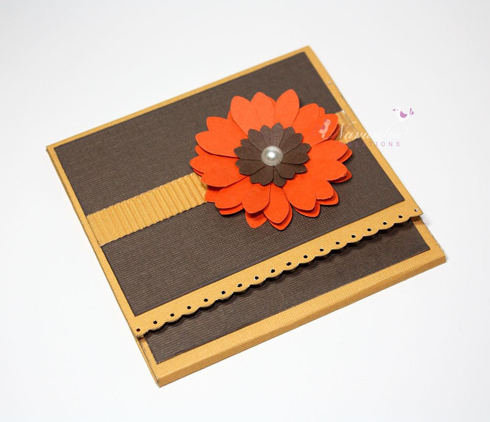 Handmade Gift Card Holder or Folded Money Holder with Orange