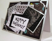 Fun and Bright Silver and Black Birthday Card