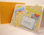 Yellow and Blue Super Bright Collage Thank You Greeting Card