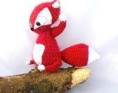Fox amigurumi woodland plush stuffed animal red  white mohair crochet  OOAK gift wrapped ready to ship