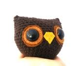 owl  plush amigurumi crochet stuffed animal softie brown OOAK gift wrapped ready to ship