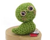 bookworm amigurumi plush stuffed animal glasses green crochet doll miniature books heart shaped gift box pink cheeks OOAK ready to ship
