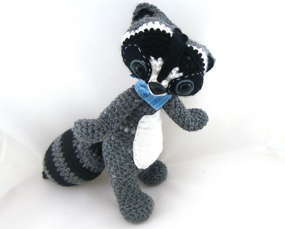 raccoon woodland amigurumi plush gray black white crochet with bandana neck scarf OOAK gift wrapped ready to ship