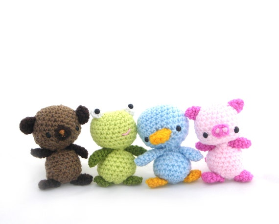 Reserved Custom Listing for Jessie set of four amigurumi animal friends bear frog duck and pig