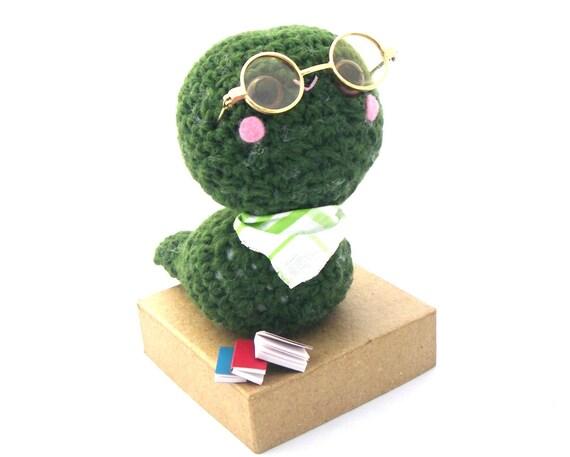 bookworm amigurumi plush stuffed animal glasses dark green crochet neck scarf OOAK miniature books gift box pink cheeks OOAK ready to ship