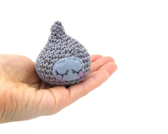 teardrop amigurumi raindrop plush sleeping sleepy mini crochet gray grey cotton stuffed embroidered ready to ship kawaii