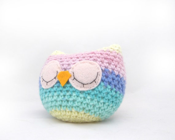 owl plush amigurumi rainbow pastel sleepy sleeping woodland stripey crochet ready to ship OOAK