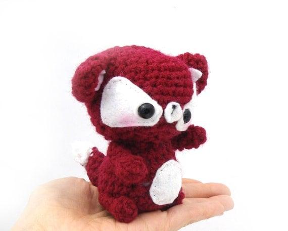fox amigurumi plush stuffed animal red white crochet mini baby