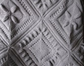 Ready-Made Knit Afghan---------------- SCULPTURED BLOCK pattern in silver grey