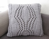 Ready-Made Knit Pillow ---------------- DELIGHTFUL in GREY  (20in)