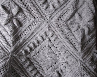 Ready-Made Knit Afghan---SCULPTURED BLOCK pattern in silver grey