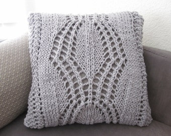 Ready-Made Knit Pillow ---DELIGHTFUL in GREY  (20in)