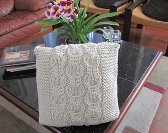 Ready-Made Knit Pillow---PEACEFUL in OFF-WHITE  (16in)