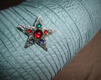 STAR PIN - cabochan stones in color