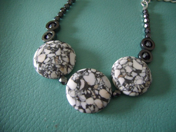 BOLD WHITE TURQUOISE stone necklace with hematite