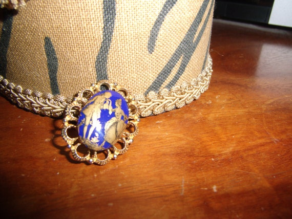 BLUE AND GOLD pin/brooch...man and woman...early american