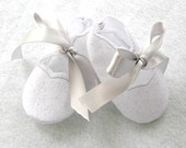 Felt Baby Booties White and Silver / SALE