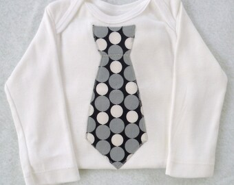 Tie Bodysuit  / Black with Gray and White Dots