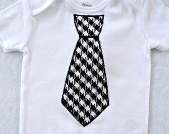 Tie Onesie Black Houndstooth
