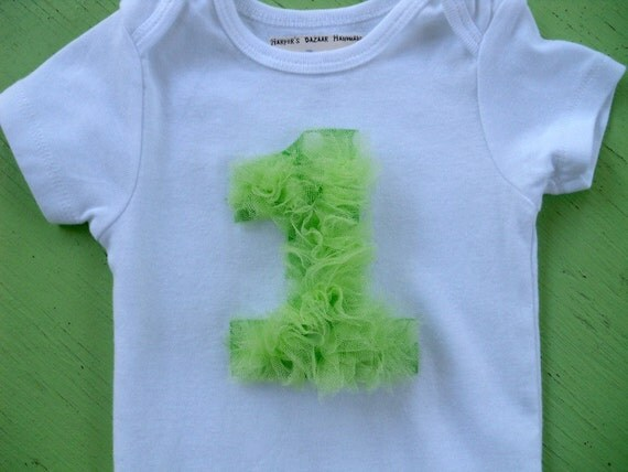 First Birthday Bodysuit Tulle   /  You pick color /